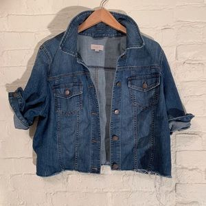 Women's Distressed Cropped Denim Jacket